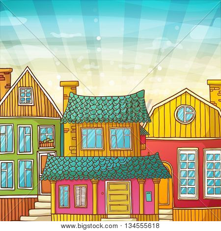 Card with houses and the sky in a cartoon style. Banner with cartoon exteriors of houses. The facades of the houses. Vector illustration