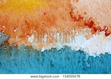Macro Orange Blue and White Watercolour Background
