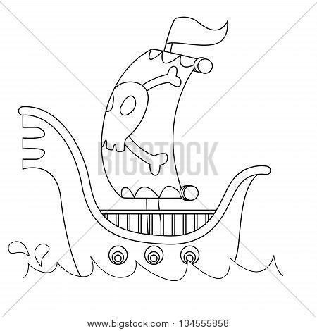Coloring Book Page of Outlined Pirate Ship