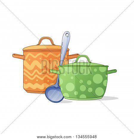 Banner, an icon, a symbol with colored pots and ladle. Kitchen utensils in a cartoon style. Illustrations of kitchen pots for flyers, web, brochures. Vector illustration