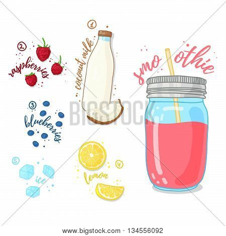Smoothies wild berry and coconut milk. Milk smoothie with raspberries, blueberries and coconut milk. Recipe berry, fresh smoothie in a glass jar. Berry cocktail for a healthy vegetarian diet. Vector illustration
