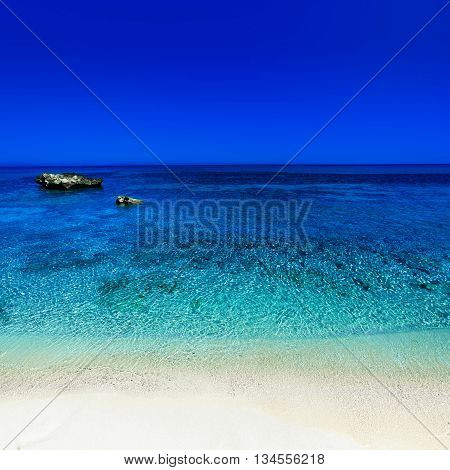 Beautiful Sunny Beach Coastline with Panorama Tranquility Bay. Tropical Paradise Beach Seascape Travel vacation background