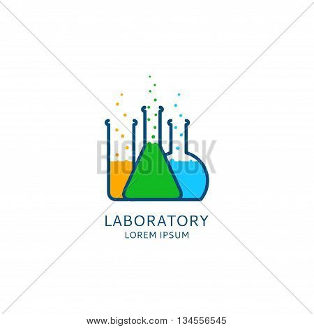 Vector template of logo of laboratory. Chemical or medical icon. Colorful bottles and test tubes in linear style.