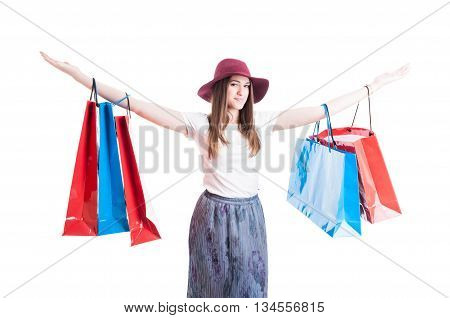 Excited Young Girl Enjoying A Great Day Of Shopping
