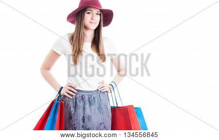 Portrait Of Trendy Shopaholic Posing In Casual Clothes