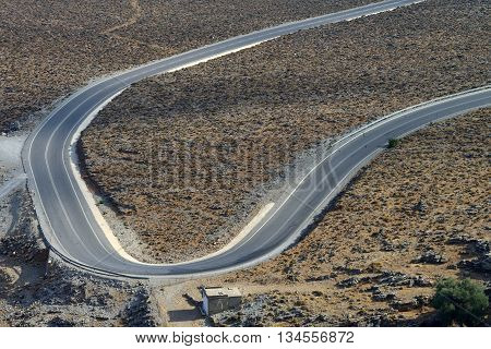 Winding road in a Crete island, Greece