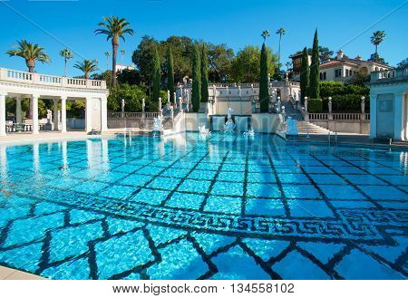 California USA November 19 2008 Grand luxurious swimming pool in Hearst Castle.