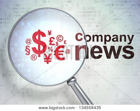 News concept: magnifying optical glass with Finance Symbol icon and Company News word on digital background, 3D rendering