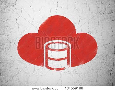 Cloud computing concept: Red Database With Cloud on textured concrete wall background