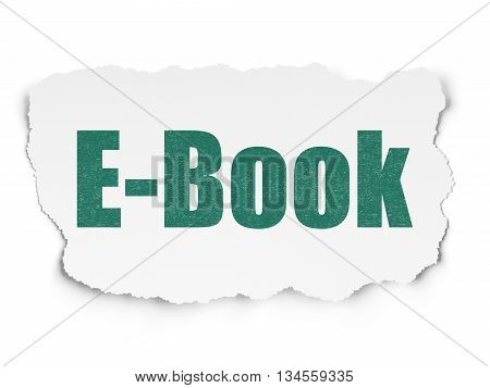 Studying concept: Painted green text E-Book on Torn Paper background with Scheme Of Hand Drawn Education Icons