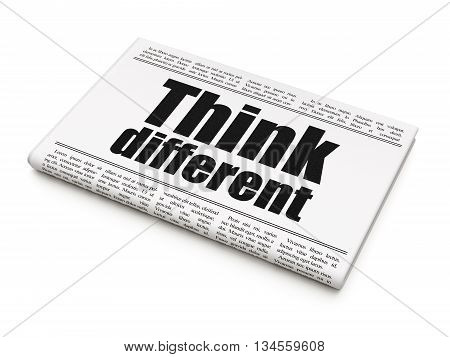 Education concept: newspaper headline Think Different on White background, 3D rendering