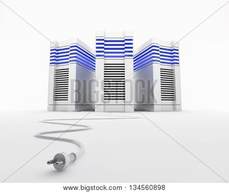 Three network servers with a plug. 3d rendered illustration.
