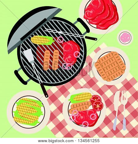 Summer Picnic Barbecue and Grilled Food on the grass with cloth table