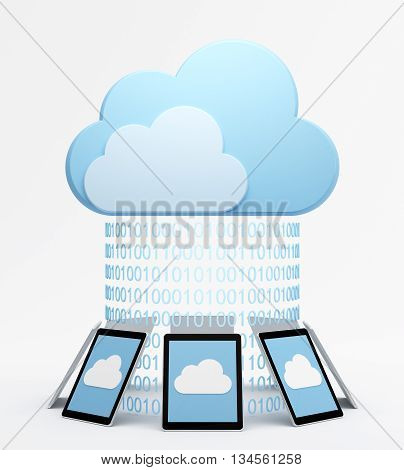 Tablet pcs around virtual cloud with binary codes.
