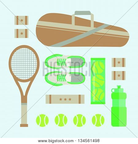 FLAT LAY FUN SPORT TENNIS PLAY EQUIPMENTS