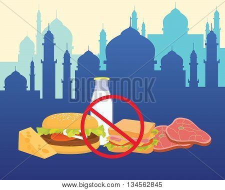 islam break fasting with ban of food and drink vector graphic illustration