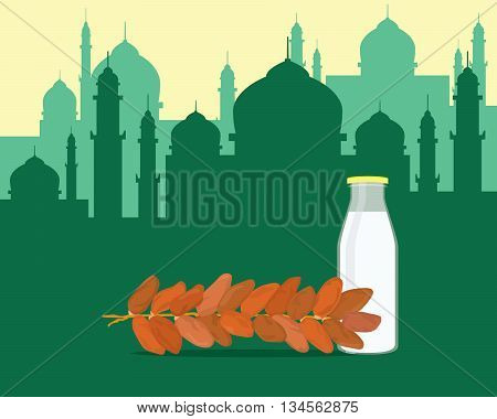 islam break fasting with food dates and glass of water milk vector graphic illustration