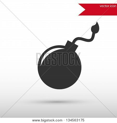 Bomb icon. Bomb symbol. Flat design style. Template for design. Vector illustration.