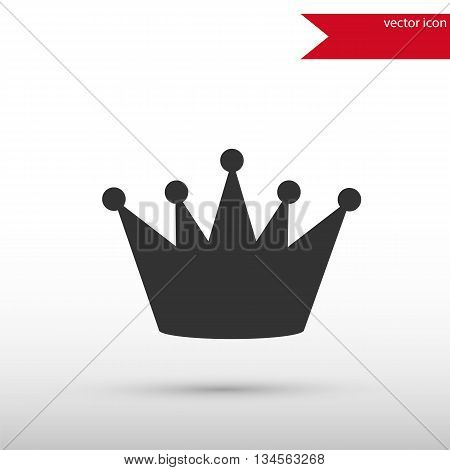 Black crown icon. Black silhouette crown. Flat design style. Template for design.