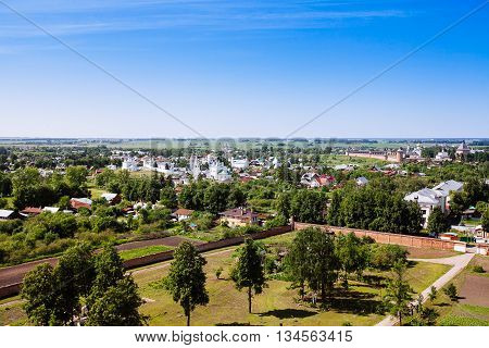 Beautiful Cityscape. View Of The Old Russian Town Of Suzdal. Gold Ring.