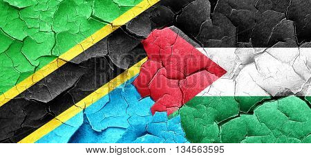 Tanzanian flag with Palestine flag on a grunge cracked wall