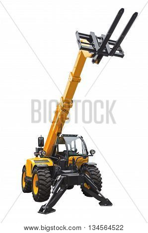 Telescopic handler isolated on a white background