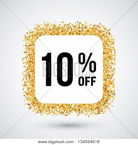 Golden Frame with Discount Ten Percent for Design