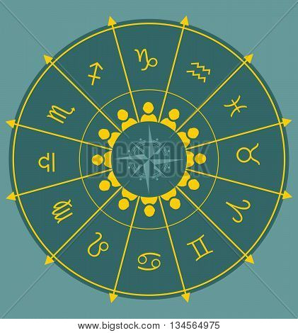 Astrological symbolsand man icons in the circle. Vector illustration