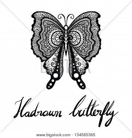 Hand drawn butterfly for tattoo, T-Shirt design, adult coloring and so on - Stock vector