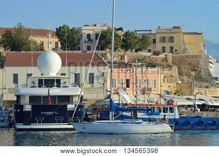 CHANIA GREECE - AUGUST 12: Harbor of Chania Greece on August 12 2014. Chania is one of the most popular tourist place on Crete island in Greece.