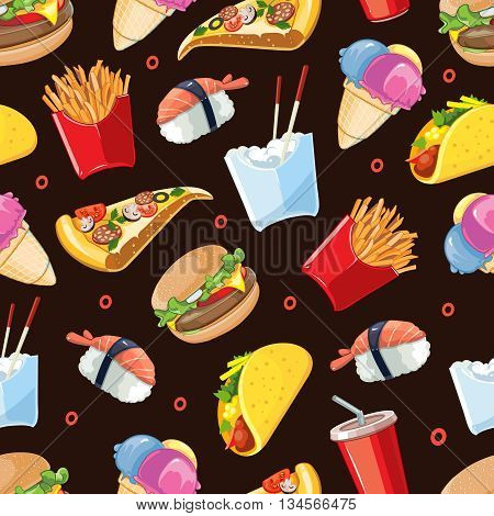 vector seamless pattern with fast food icon set. Burger, plastic glass with cold drink, French fries, tacos, pizza, sushi. Pictures isolate on dark background