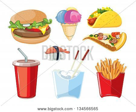 vector fast food icon set. Burger, plastic glass with cold drink, French fries, ice cream, tacos, sushi, pizza. Pictures isolate on white background