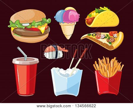 vector fast food icon set. Burger, plastic glass with cold drink, French fries, ice cream, tacos, sushi, pizza. Pictures isolate on dark background