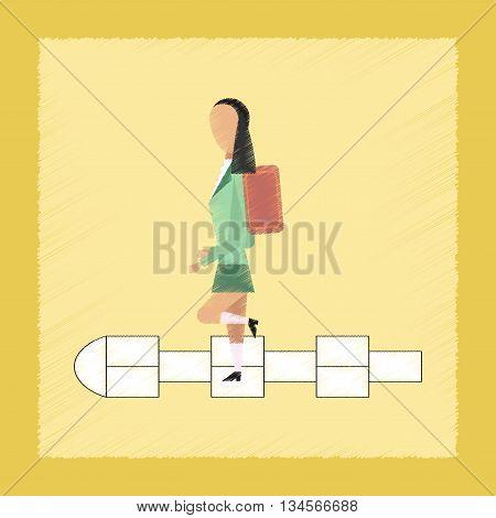 flat shading style icon school Schoolgirl hopscotch
