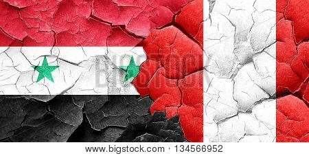Syria flag with Peru flag on a grunge cracked wall