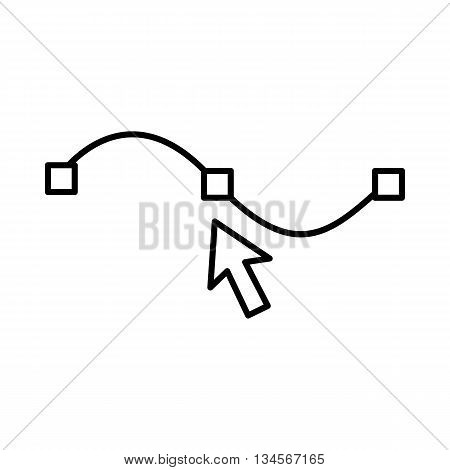 Drawing the curve icon in outline style isolated on white background