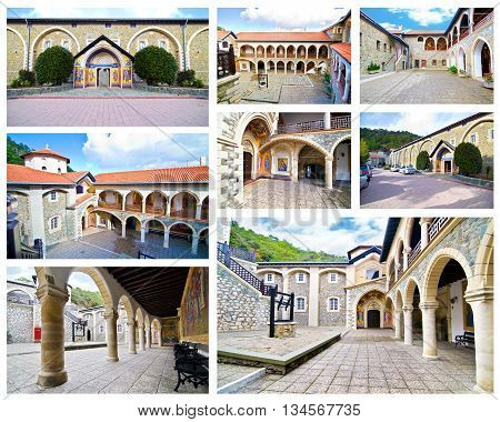 WEST PEDOULA CYPRUS, DECEMBER 05 2016: collage of the Orthodox monastery of Kykkos, Holy monastery of the Virgin of Kykkos in Cyprus. Byzantine architecture. Editorial use.