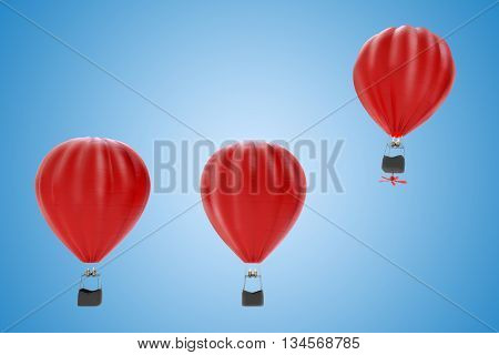Hot air balloon flies high in most of the other 3D rendering