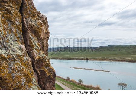 spring on Ili River Kazakhstan, tamgaly tas