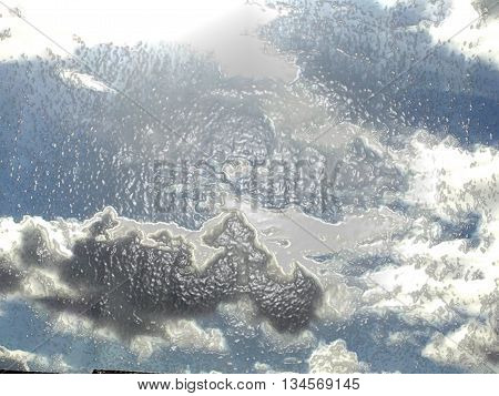 Abstract skies with plastic wrap as computers background and visual effects