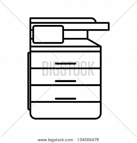 Multipurpose device, fax, copier and scanner icon in outline style isolated on white background