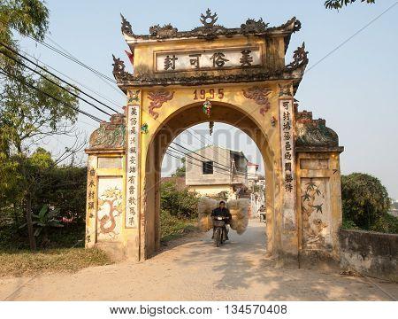 HA NOI, VIET NAM, April 21, 2016 Cu Da village gate, suburb, Ha Noi, Vietnam. Cu Da is the oldest historic village