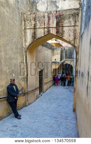 Jaipur India - December 29 2014: Tourist visit Amber Fort in Jaipur Rajasthan India on December29 2014. The Fort was built by Raja Man Singh I.