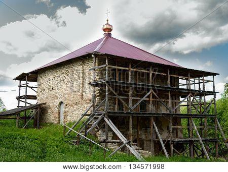 Pskov Malsky monastery the old stone Church