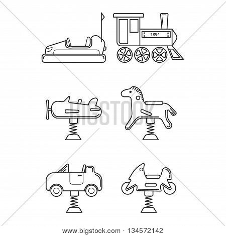 Icon set for playground or funfair attraction in black and white style. Vector icon set isolated on white background.