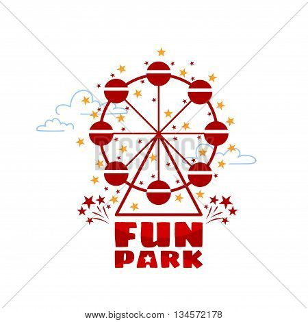Logo template for fun park in line style on a white background. Ferris wheel in fun park or funfair attraction. Vector illustration.