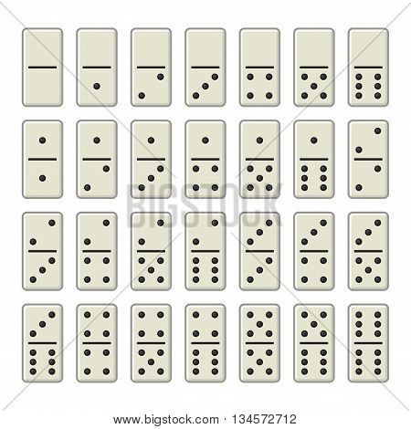 Domino Bones Complete Set on White Background. Vector illustration