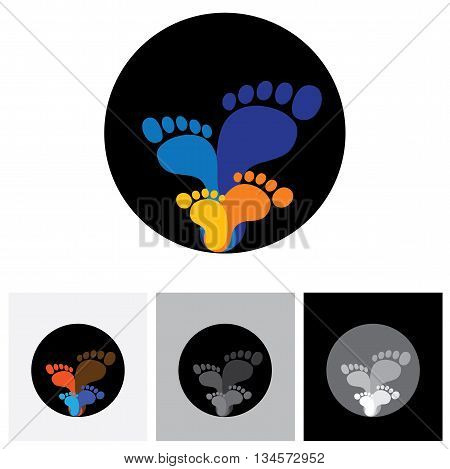Feet Of Family Members- Father, Mother, Son & Daughter - Vector