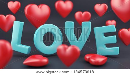 Word Love And Hearts