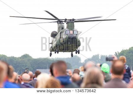 Leeuwarden, Netherlands - Juni 11 2016: Chinook Ch-47 Military Helicopter In Action During A Demonst